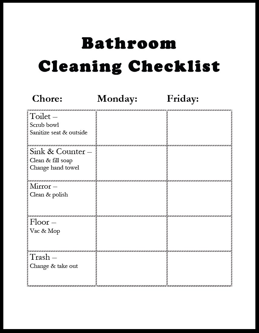 Free Printable Bathroom Cleaning Checklist | charlotte ...