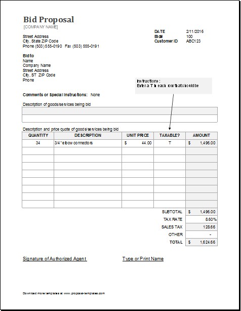 Free Printable Bid Proposal Forms | charlotte clergy coalition