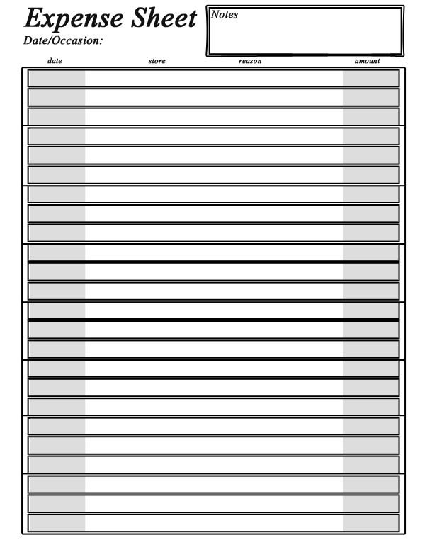 free printable expense sheet charlotte clergy coalition