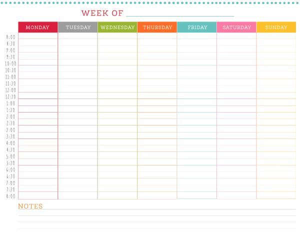 FREE Printable Weekly Schedule   thing's that caught my eye 6