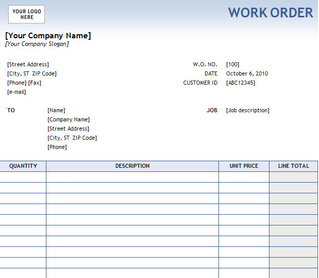 Blank Work Order   Fill Online, Printable, Fillable, Blank | PDFfiller