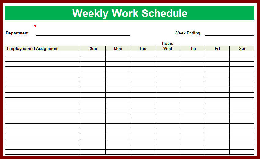 free printable work schedules   Kleo.beachfix.co