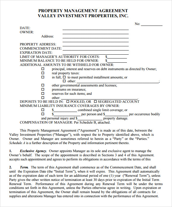 free property management forms templates management agreement