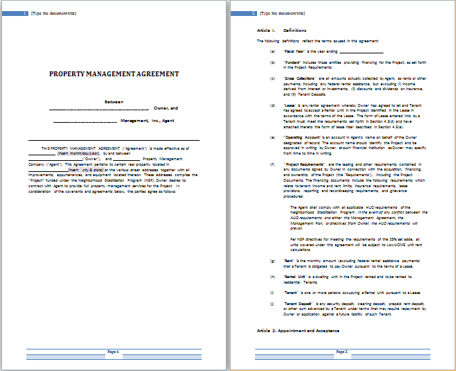 Free Property Management Agreement Charlotte Clergy Coalition