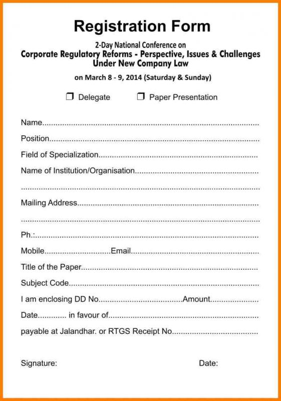 Free Registration Forms Template | charlotte clergy coalition