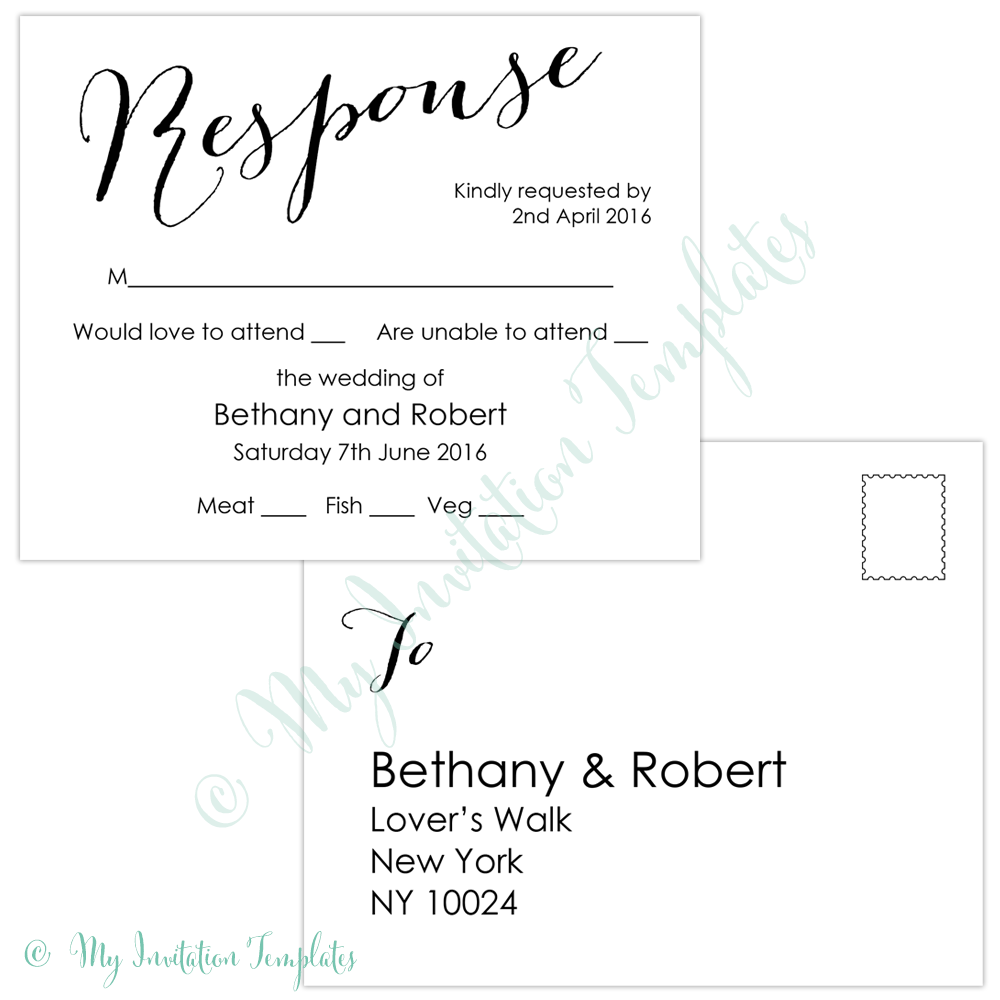 wedding rsvp postcard templates free   Kleo.beachfix.co