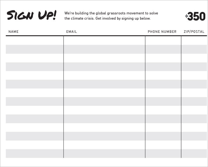 Free Printable Blank Sign up Sheet | Student Handouts