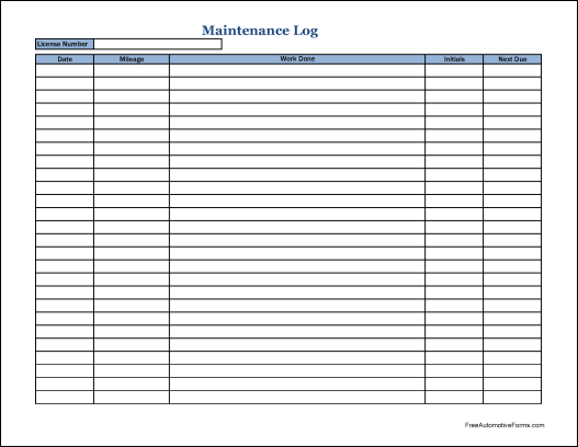 Free Simple Automotive Maintenance Log (Wide)