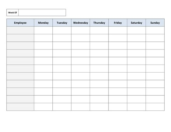 Free Weekly Employee Work Schedule Template | charlotte clergy coalition