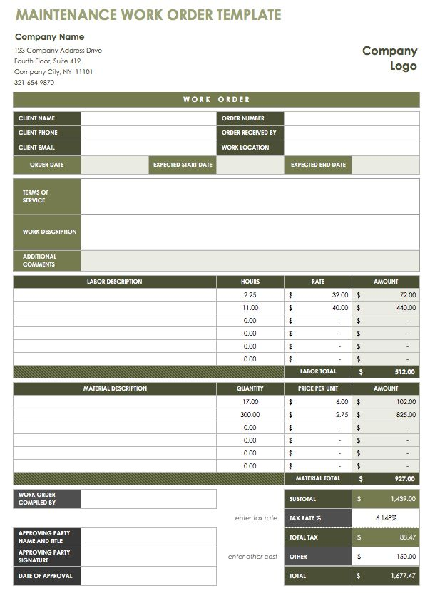 free work order template charlotte clergy coalition