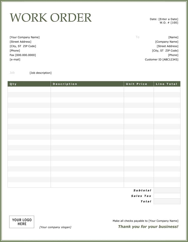 Free Work Order Template Charlotte Clergy Coalition - Free printable work order template