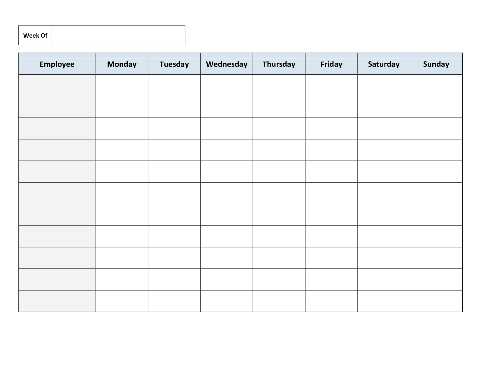 Free Work Schedule Template | charlotte clergy coalition
