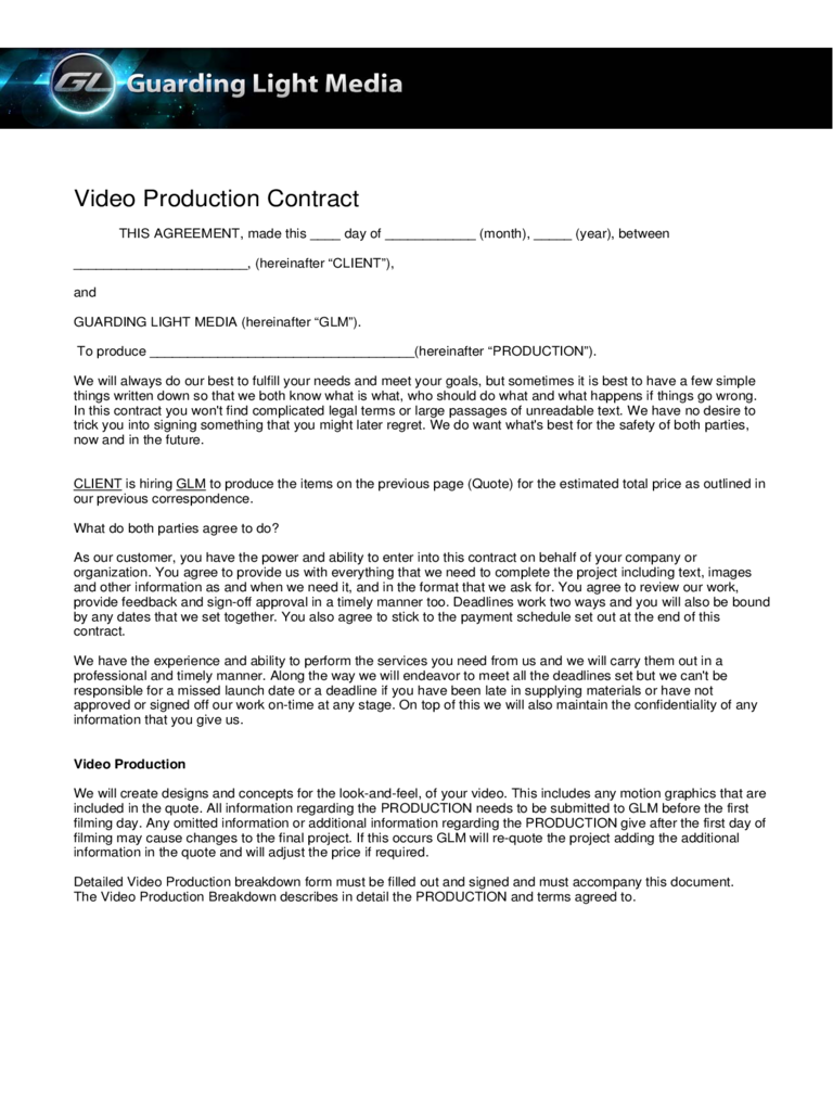 Freelance Video Contract Template | charlotte clergy coalition