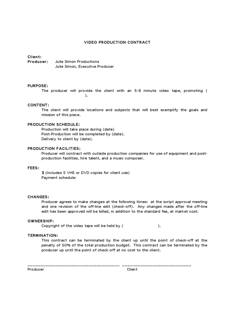 videographer contracts template   Tier.brianhenry.co