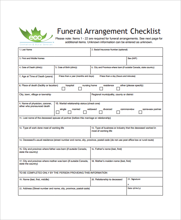 Funeral Arrangement Form   Atlanta Georgia Fill Online, Printable