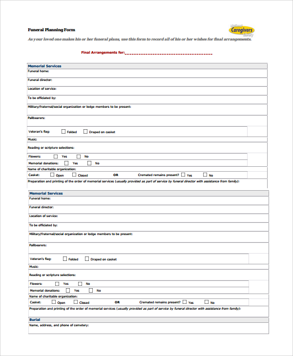 funeral planning form template