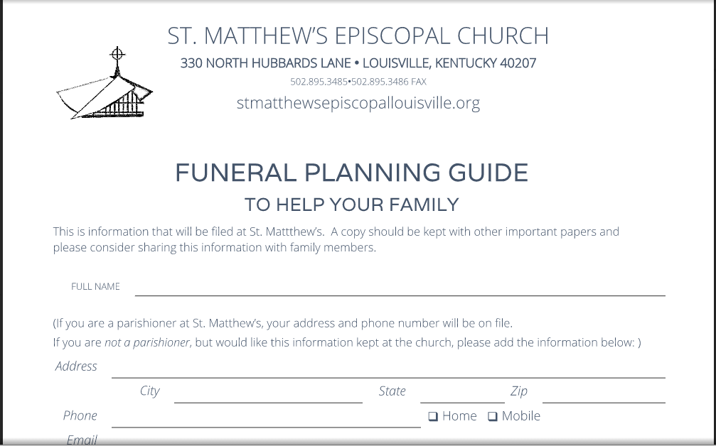 funeral planning forms charlotte clergy coalition