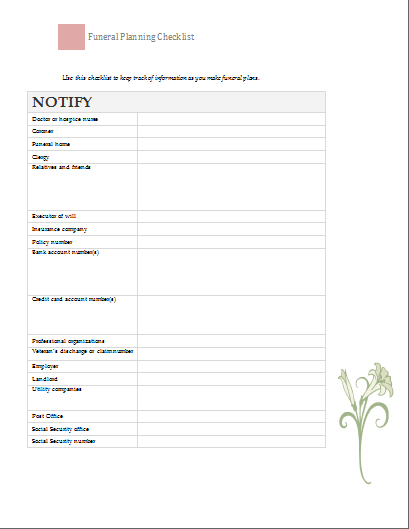 Funeral Planning Checklist Template | Document Templates