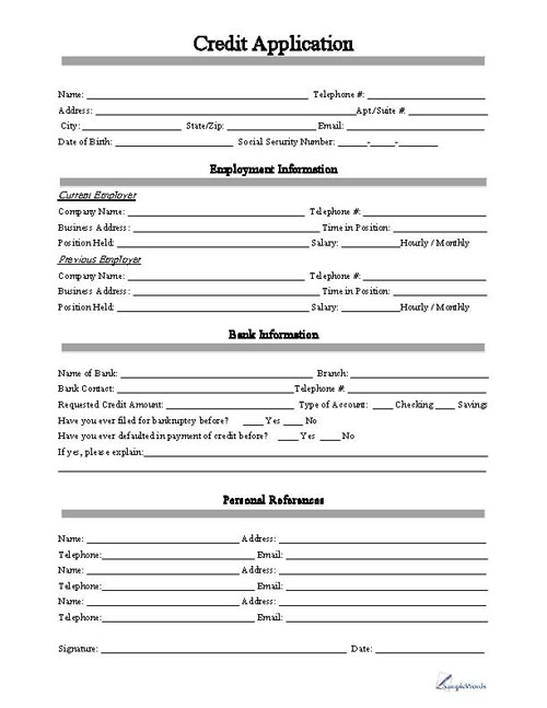 client application form template free printable business credit