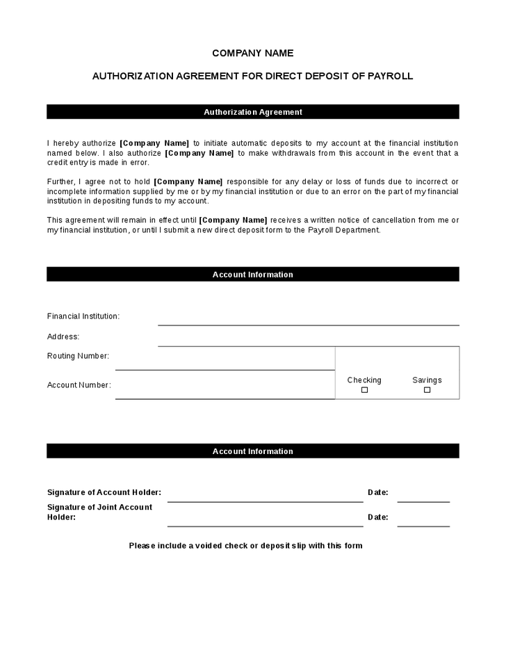 direct deposit authorization form template direct deposit