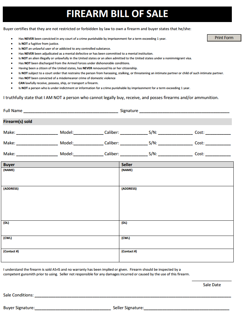 firearm bill of sale template 02   Creative Drill Sergeants