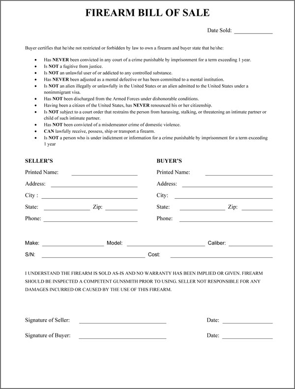 Free Georgia Firearm/Gun Bill of Sale Form | PDF | Word (.doc)