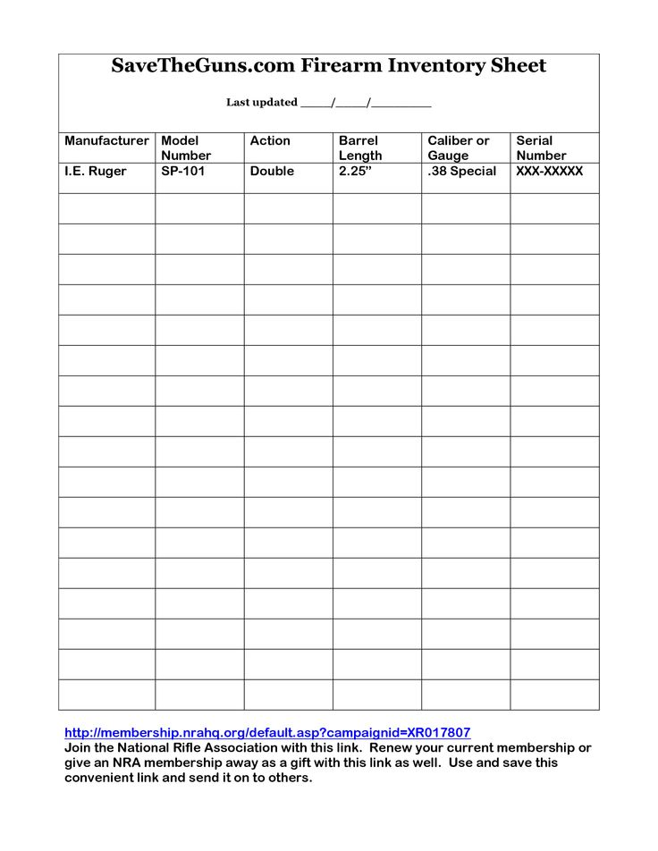 Printable Gun Inventory Form | firearm inventory sheet by