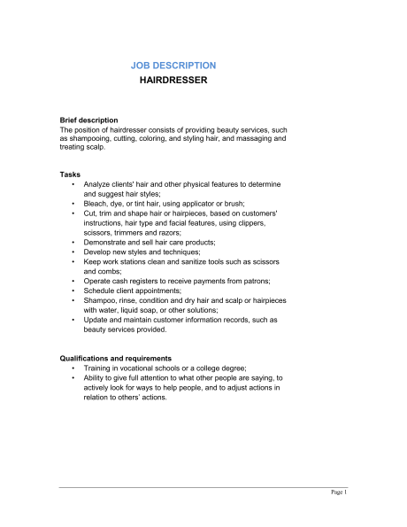 Hairdresser Job Description   Template & Sample Form | Biztree.com