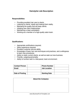 Hairstylist Job Description Template