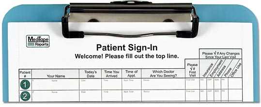 Blue 8.5x11 HIPAA Compliant Privacy Sign In Sheets For Doctors
