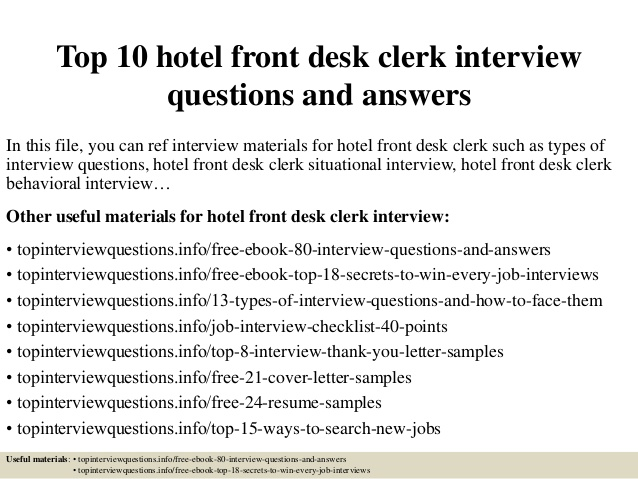 Hotel Front Desk Staff Interview Questions Template