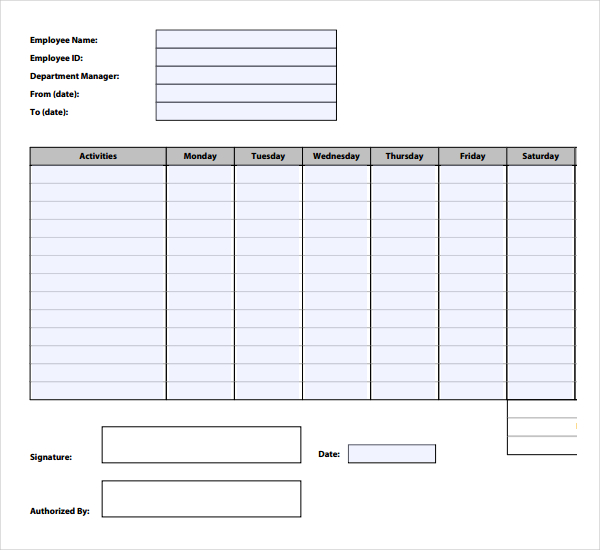hours tracking template
