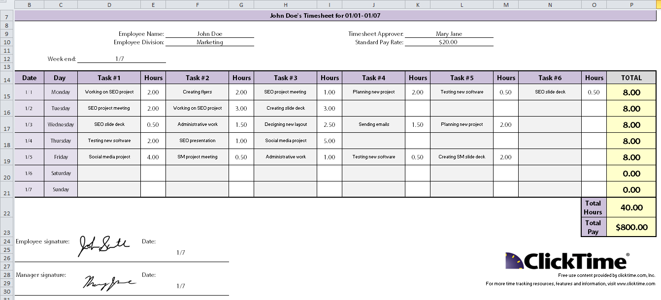 time audit template printable www