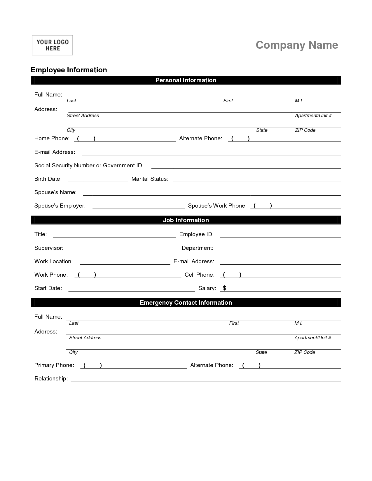 Basic Information Form Template Filename – down town ken more