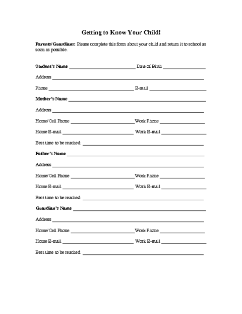 student contact form template family information form template