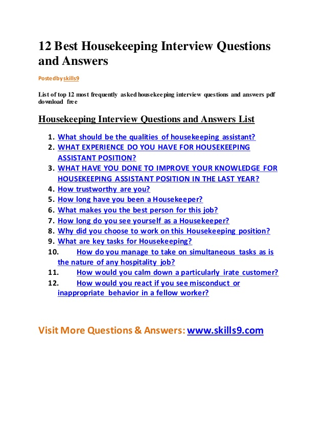 Housekeeper Interview Questions Template