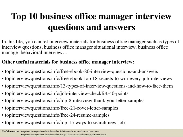 interview questions for office manager   Gecce.tackletarts.co