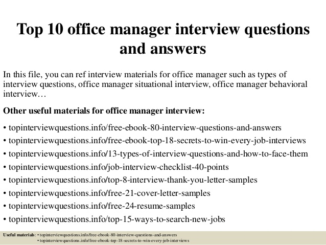 Top 10 office manager interview questions and answers