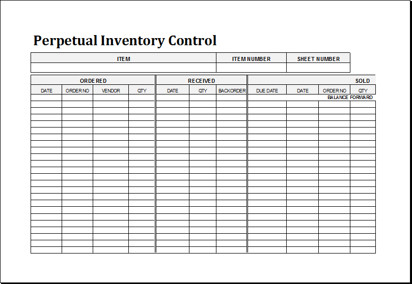 Inventory Count Worksheet Template
