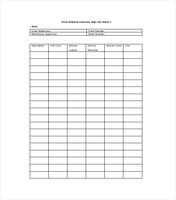 Equipment Sign Out Sheet | Tool Check Out Form