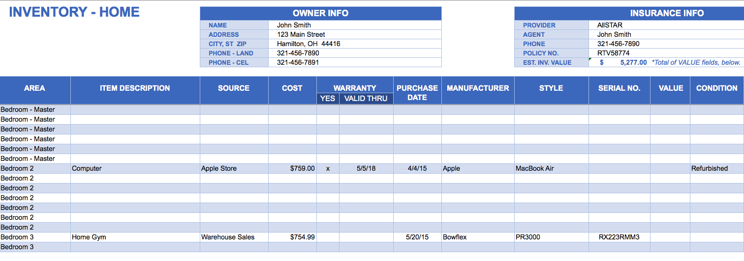 Inventory Template Excel | charlotte clergy coalition