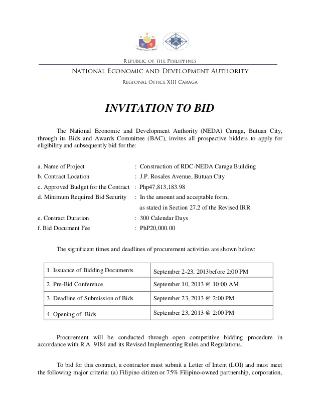 Invitation Bid Invitation With Invitation To Bid Template