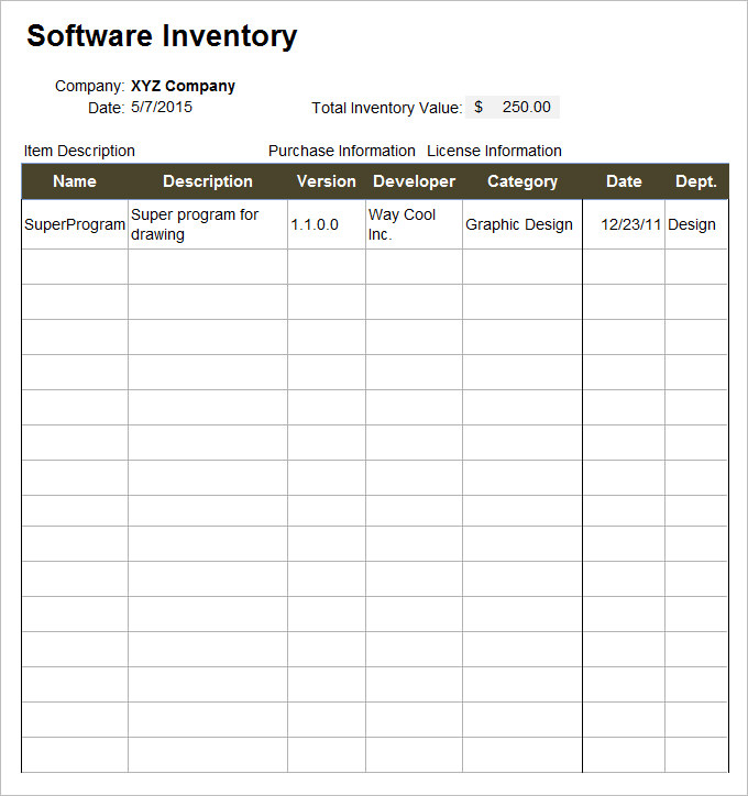 IT Inventory Template   15 Free Word, Excel Documents Download