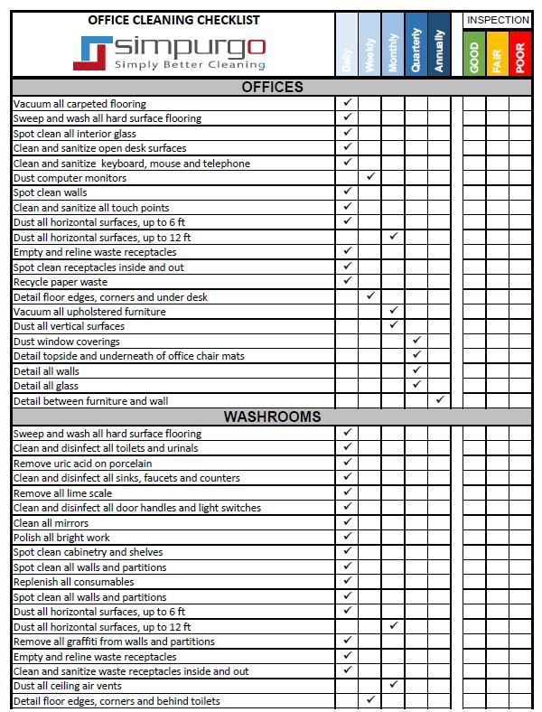 Janitorial checklist template charlotte clergy coalition for Commercial cleaning checklist templates free