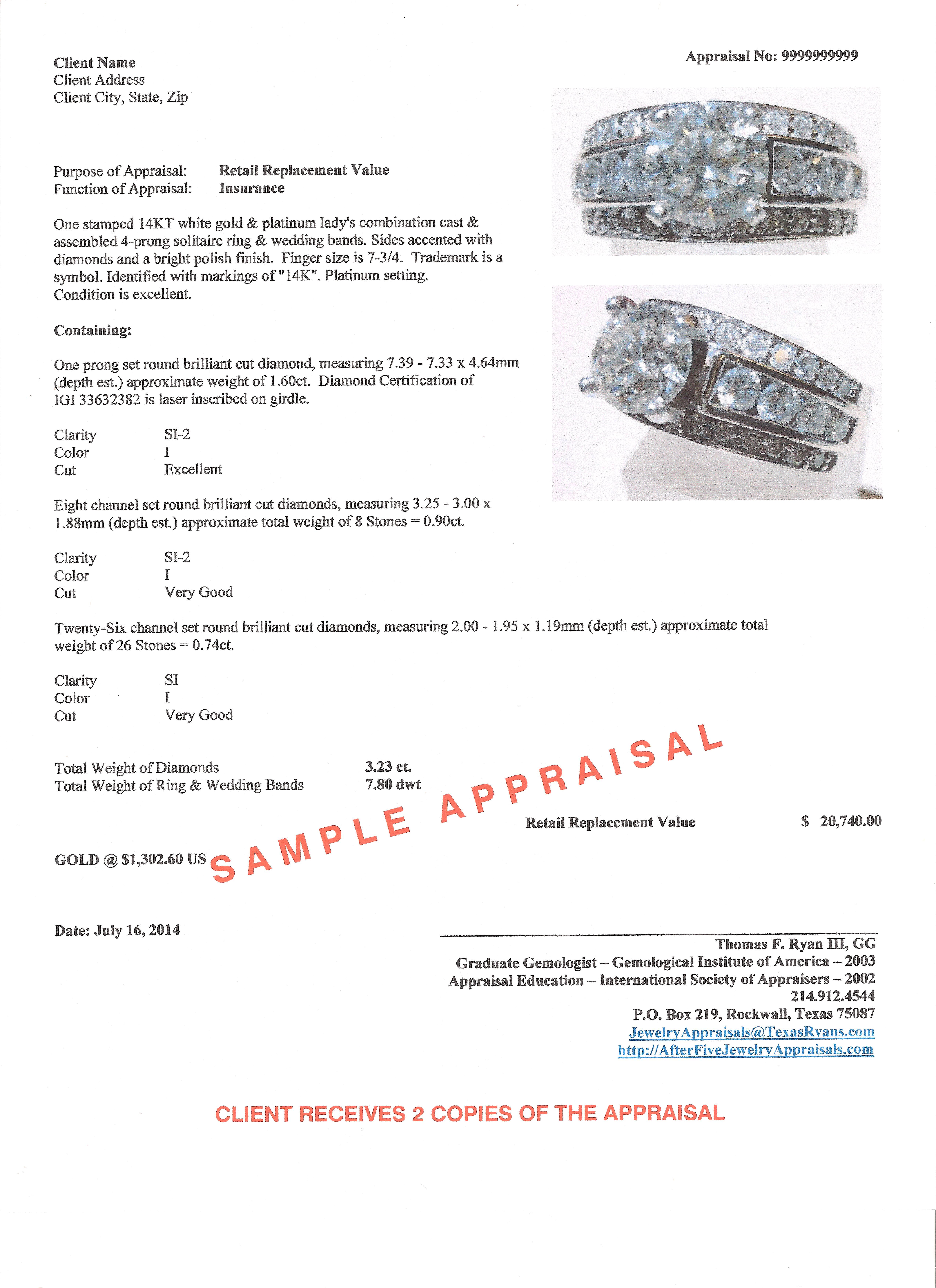 Jewelry Appraisal Templates Charlotte Clergy Coalition