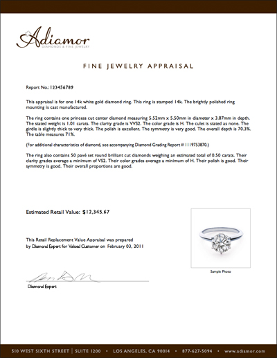 Sample diamond and jewelry appraisals | James Farrow Company