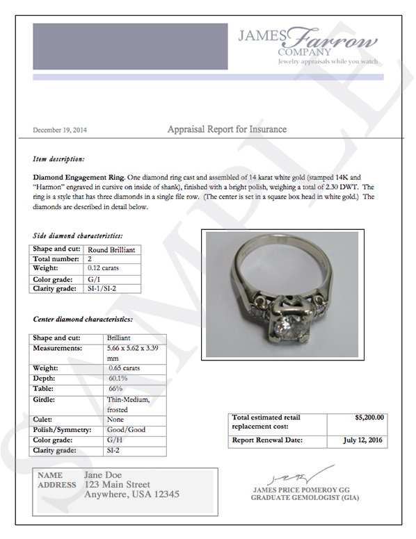 insurance appraisal template  Jewelry Appraisal Templates | charlotte clergy coalition