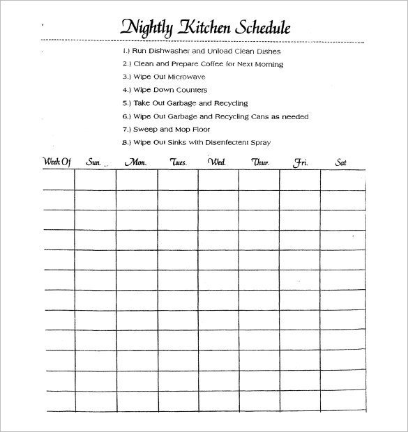 Kitchen Schedule Templates   15+ Free Word, Excel, PDF Format