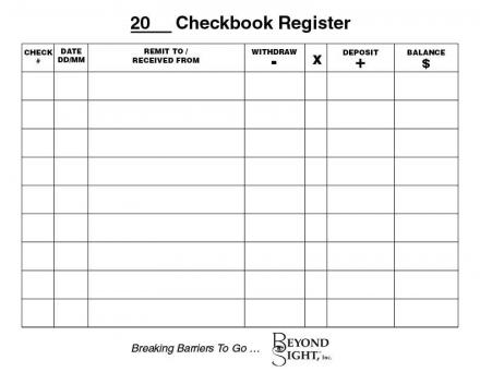 Printable Check Register with Large Lines