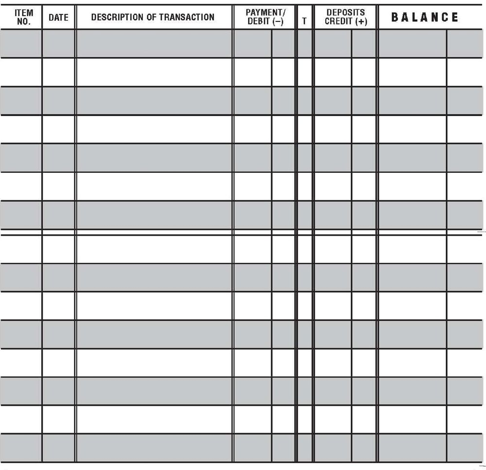Large Check Register Template